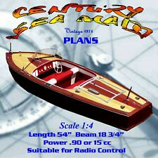 Century Sea Maid wooden powerboat canvas print by Richard Browne
