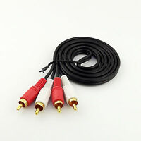 5FT 1.5m Twin Phono 2 RCA Cable Audio Lead Gold Two Male TV Projector 2 RCA Cord