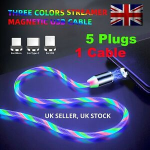 Magnetic LED Flowing UP Phone Charging Cable Charger Type-C Micro USB iOS 3IN1