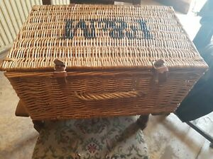 Fortnum and Mason Wicker Basket Large Hamper with handle & leather straps