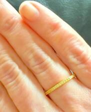 2 mm CZ Milgrain Stackable Yellow Gold Eternity Bridal Band Ring .925 Size 4