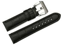 22mm Black Genuine Soft Leather Watch Band Strap Steel PVD Buckle For Panerai