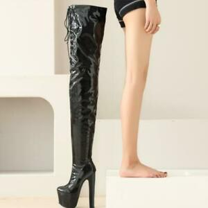 Women's Super High Heel Platform Over The Knee Thigh Boots Clubwear 17cm Boots