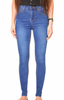 WAKEE BLUE ULTRA HIGH RISE SKINNY LEG JEANS WITH FADE LINE DETAIL. SIZE 6-18