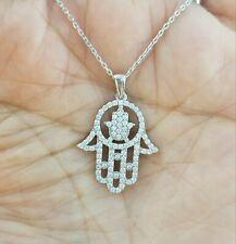 925 Sterling Silver Cz Hamsa Hand Charm Pendant Chain Necklace