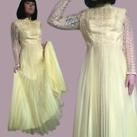 Vintage 1960s Modest Southern Belle Yellow Dress Long Sleeve Accordion Skirt SM
