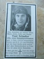WWII German Death Card, RARE FIGHTER PILOT IN FLIGHT SUIT, Shot Down Over Korfu