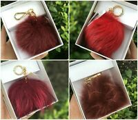 NWT Michael Kors MD Fur Pom Pom Key Fob Bag Charm, Keychain