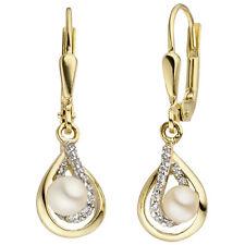 Damen Ohrhänger 375 Gold Gelbgold 2 Süßwasser Perlen 24 Zirkonia Perlenohrringe