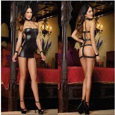 NERO PVC CORSETTO Vestito sexy giacca fetish bdsm mistress donna latex hot
