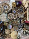 Large Lot Of Antique Vintage Buttons 100+ Metal Picture Black Glass Mop Etc L1