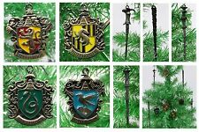 HARRY POTTER  Houses Christmas Ornament Set Wands, Gryffindor, Slytherin NEW