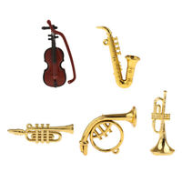 5pcs Miniature Musical Instrument Violin/Saxophone for 1/12 Doll House Decor
