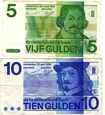 1968 & 1973 Netherlands 10 & 5 Gulden Banknotes***Collectors***