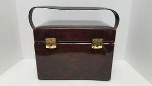 Vintage Patent Vinyl Vanity Train Case Make Up Box Patent Leather Style Tortoise