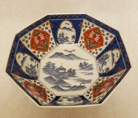 Japanese Imari Porcelain Bowl 8 Sided Hand Painted Scene Floral Red Blue excelle