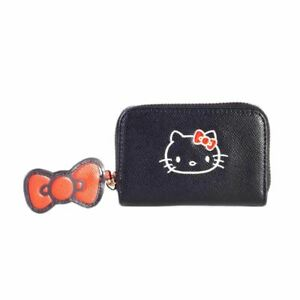 Hello Kitty Zip Around Black Coin Purse with Bow Charm - Anime Cute
