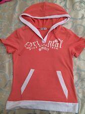 T Shirt Particolare Con Cappuccio E Tasche Frontali Corallo Salmone Street Style