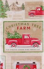 Christmas Tree Pine Valley Farm Vinyl Flannel Back Tablecloth 60 Round