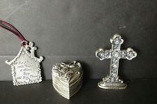 Lot 3 Small Pewter Heart Shape Trinket Box, Home Shape Plaque, Decorative Cross