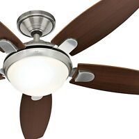 "Hunter 52"" Modern Brushed Nickel Ceiling Fan with LED Light and Remote Control"
