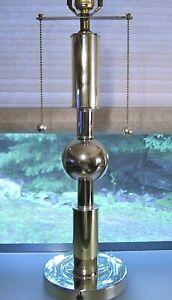 Mid Century Modern Chrome Orb Table Lamp Vintage MCM