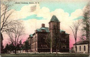Hand Colored Postcard Homer Academy in Homer, New York~2538