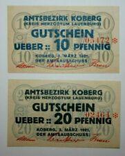 1921 Germany Koberg - Lauenburg  10 & 20 Pfennig Notgeld Notes