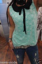 D25M Top Spitze schleife Neu XS 34 S Shirt Blogger Trend Boho Hängerchen Bluse