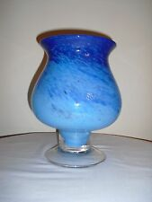 Art Glass Large Hand Blown Footed Bowl / Vase Blue Swirl - PONTIL - Clear Base