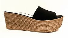 STEVE MADDEN :: Black Suede :: Platform Slip-On Sandals :: Sz 7