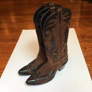 Lucchese 1883 Womens Western Cowboy Boots Brown Suede Black Wingtip Overlay Sz 8