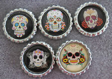 5 x Sugar Skulls Flattened Bottle Caps - Great for Magnets, Cards, Bows