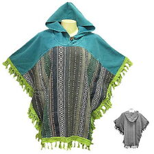 Peasant Boho Hand Woven Cotton Hooded Poncho/Sweater with Fringe - YX585