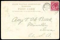 BRITISH GIBRALTAR TO USA Circulated Postcard VF
