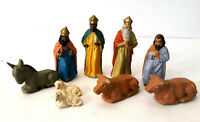 Vtg 9 Composite Wisemen Christmas Nativity Figures Kings Donkey Joseph Germany