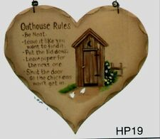 """8x7"""" Country Wood Heart  OUTHOUSE RULES Primitive Bath Bathroom Wall Decor  Sign"""
