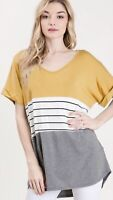 NWT Women's Large Mustard Colorblock Piko Blouse Top Boutique USA