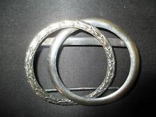 ancienne boucle de ceinture en métal argenté à décor de feuillage fin XIX ème