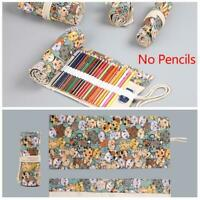 12-72 Holes Colored Roll Up Pencil Case-Canvas Wrap Pen Bag Pouch Storage Holder