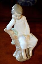 """Beautiful Lladro """"Thinking Boy Seated on a Tree Stump"""" # A11D  1978 Spain"""