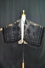 Listing Classic Black Burnout Velvet Fringe Poncho Kimono Shawl Top With New