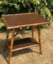 Vintage Bamboo Table With  Leather Looking Top and Bottom Shelf *