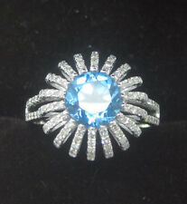 7.0mm Round Cut Solid 14kt 585 White Gold Natural Topaz Natural Diamond Ring