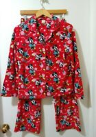 Disney Womens Mickey &  Minnie Mouse 2pc Pajama Sz M Button Front Shirt Holiday