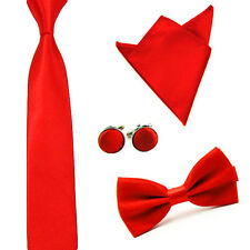 Men Solid Color Satin Bow Tie Necktie Handkerchief Pocket Square Cuff Link Set