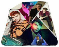 """Adam Lambert Collage Winter Blanket 60"""" x 80"""" Queen Size NEW Fleece Christmas"""