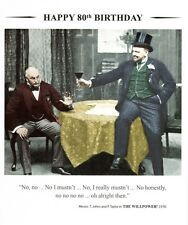 Happy 80th Birthday Greeting Card Square Retro Humour Drama Queen Cards