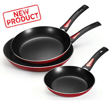 3 PACK Frying Pan Set  Nonstick Coat Kitchen Cook Pans Non Stick Home Cooking