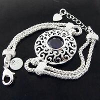 Bracelet Bangle Real 925 Sterling Silver SF Solid Ladies Amethyst Antique Design